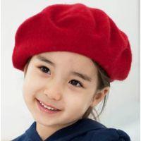 2014韩版百搭纯羊毛呢蓓蕾帽 儿童潮秋冬天保暖画家帽贝雷帽批发