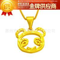 久不掉色 镀金项坠 精美熊猫吊坠  镀24k黄金首饰品 可爱女生饰品