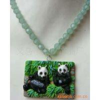 树脂熊猫项链 树脂彩绘工艺项链 仿真动物项链 动物园赠品项链