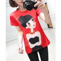 夏季女装新款韩版可爱女孩印花圆领短袖T恤 打底衫 女