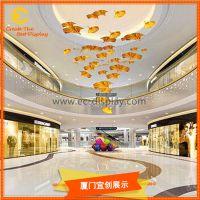 商场中庭空间装饰仿真枫叶道具亚克力道具