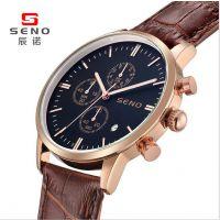 手表定制男士六针真皮防水石英手表批发厂家直销一件代发