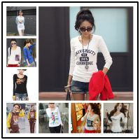 2014秋装韩版新款长袖女T恤修身显瘦女装长袖打底衫女上衣批发