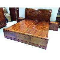 新中式刺猬紫檀包床头柜3件套大床批发,盛世艺木居红木家具厂