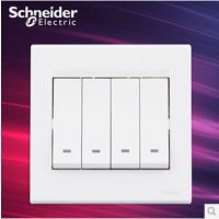施耐德电气 四位四开四联双控 墙壁电源插座开关面板 10A 如意 白