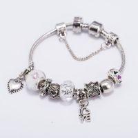 韩版时尚个性手链 完美随意搭配爱心吊坠水晶珠 速卖通热销款