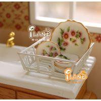 1:12娃娃屋DOLLHOUSE  MINIATURE迷你家具配件 厨房白色碗碟架