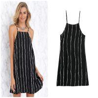 2015春夏新款欧美风欧美风条纹吊带裙 无袖吊带打底衫 性感 L1469