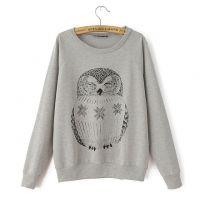 欧美风新款2014秋装女式灰色猫头鹰宽松套头卫衣百搭长袖打底衫