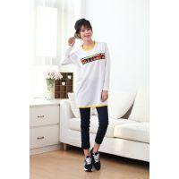 2015年外贸春装新款韩版刺绣T恤女 宽松显瘦春季打底衫女长袖