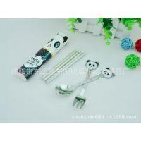 活动赠品 便携不锈钢餐具礼品套装 熊猫叉勺折叠筷子3件套