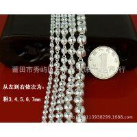 银饰批发 正品990纯银圆珠项链毛衣链百搭项链佛珠银链按条