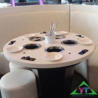 东北厂家直销现代中式火锅餐桌,大理石餐桌,实木火锅餐桌,尺寸定做,扬韬!