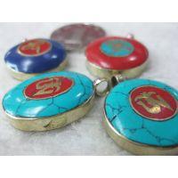 西藏饰品 佛眼六字真言唵字 护身符吊坠 尼泊尔黄铜镶嵌绿松石