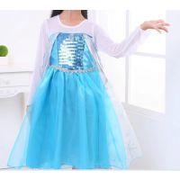 欧美外贸冰雪奇缘连衣裙 蓝色艾尔莎公主裙夏季款童裙厂家货源