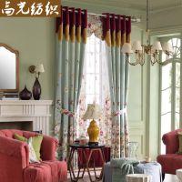 高光纺织 一件代发 新款美式乡村风仿羊绒印花窗帘布 成品窗帘定制 窗幔帘
