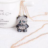 欧美项链 新款时尚可爱满水钻熊猫长款装饰项链女 毛衣链饰品批发