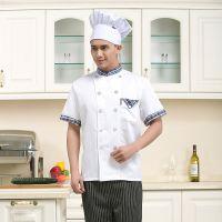 厨师服短袖夏装男女多米来酒店西餐厨师长服装衣服厨衣厨房工作服