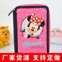 迪士尼主题多功能文具袋 创意学生用品卡通笔袋 帆布笔袋产地货源