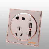 厂家西蒙子供应圆形五孔带双USB插座手机充电插座 质量保证