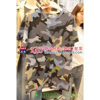 2015春装新款韩国代购东大门女装正品女圆领迷彩短袖女T桖打底衫