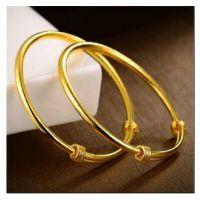 一比一黄金首饰光板推拉款手镯 硬币铜材料欧币手镯 不退色 新款