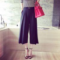 小银子2015夏装新款欧美腰带装饰阔腿显瘦九分裤B