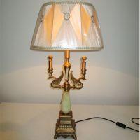 锌合金欧式台灯客厅书房玉石装饰灯具手工雕刻艺术灯定制生产销售