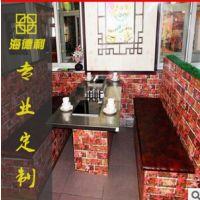 田园风格火锅烧烤一体桌 功能多样火锅餐厅桌椅