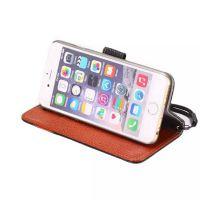 正品真皮iphone6手机套牛皮皮套 5.5苹果6plus拼色纽扣钱包保护套