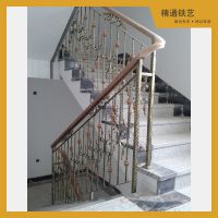 宁波精通铁艺厂家直销 室内外铁艺楼梯扶手栏杆 欧式实木旋转楼梯 定做