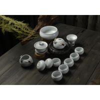 典雅古韵汝窑茶具套装批发 精致13头汝瓷茶具套装 德化功夫茶具