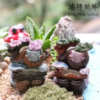 苔藓多肉微景观摆件(摆件-0100水槽带水桶假山)DIY玩具饰品