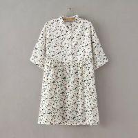 2015夏季新款 欧美女装 碎花印花宽松立领套头短袖雪纺连衣裙JZJT
