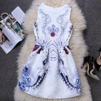 厂家直销2015春夏水晶花复古印花无袖背心蓬蓬裙显瘦连衣裙速卖通
