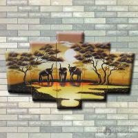 厂家定制 非洲风景五联组合油画 纯手工组合油画