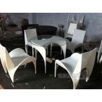 御皇 PE防藤户外白色款藤编桌椅 休闲阳台餐桌椅 快餐咖啡厅