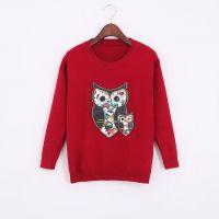 MO.X.W--TI 2014秋季新款猫头鹰刺绣针织毛衣 套头圆领女式打底衫