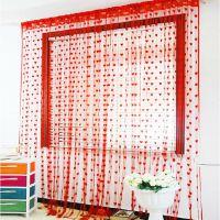 婚庆用品 结婚门帘 红色 婚房装饰布置 窗帘 韩式桃心形爱心线帘