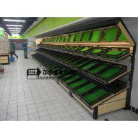 钢木结合水果蔬菜架果蔬架超市商场货架木质蔬果架松木水果店货架