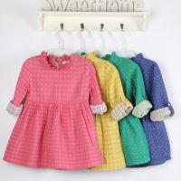 欧美外贸童装 15新春款 双层棉纱提花点点花边领女童连衣裙 童裙