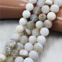 纯天然波斯湾白条纹玛瑙散珠 6-14MM串珠半成品DIY饰配材料包