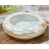 ktv雪茄陶瓷烟灰缸大中小号 欧式客厅创意个性会所茶几描金烟缸