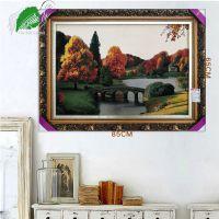 亿丝纯正伊朗进口古典欧式风景桥河流枫林绿树羊毛挂毯85x65cm