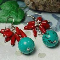 原创特色耳环批发 圆柱天然绿松石吊珠特色饰品满包邮