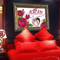 精准印花真爱永恒十字绣批发款玫瑰可放照片版结婚庆用的图案