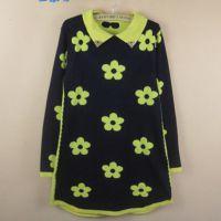 秋季新款女装韩版毛衣裙中长款针织衫翻领花朵修身套头打底衫外套