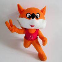 东莞厂家定做运动会吉祥物狐狸 定制奔跑超柔可爱动物毛绒玩具吉祥物