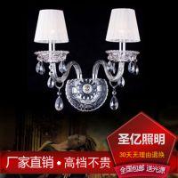 大量批发欧式水晶简约双头床头过道灯工程壁灯具灯饰酒店客房壁灯