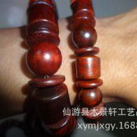 正品红木老挝红酸枝手串 三宝珠桶珠木质佛珠手链 厂家批发
